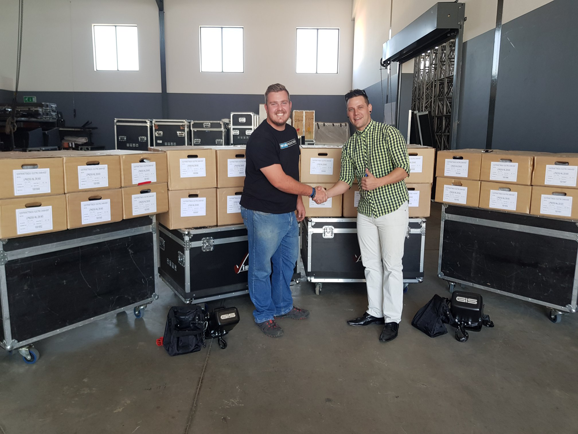 Virtual Productions takes delivery of 24 x GIS Hoists